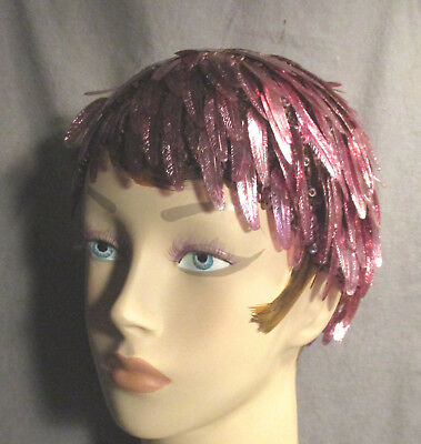 Vintage Millinery - Flapper Cap Covered w/Pink Feather Shaped French Sequins
