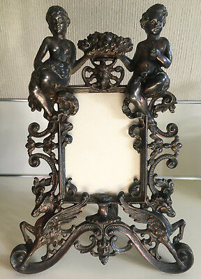 Victorian Cast Iron Figural Picture Frame Ornate With Pegasus Adam & Eve 1905