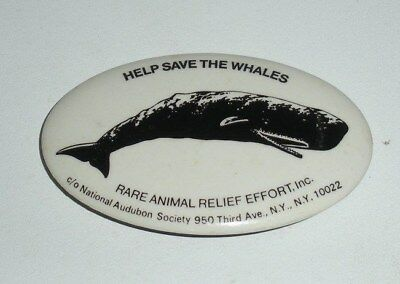 Help Save The Whales, Rare Animal Relief Effort, Pinback Button (2-3/4 x 1-3/4)