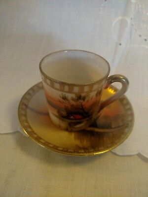 Antique Japanese Hand Painted Teacup and Saucer