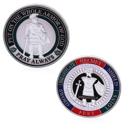 Silver Plated Put On The Whole Armor Of God Commemorative Challenge Coin Token