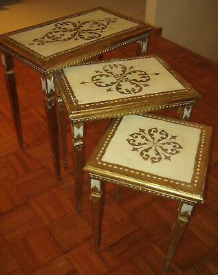 3 Vintage Nesting Tables Florentine Italian Made in Italy Hollywood Regency