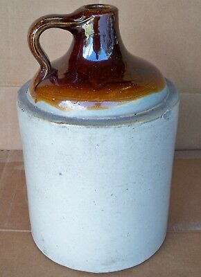 Antique Brown Top Stoneware Glazed Whiskey Jug/Vintage GREAT Condition/ 1 Gallon