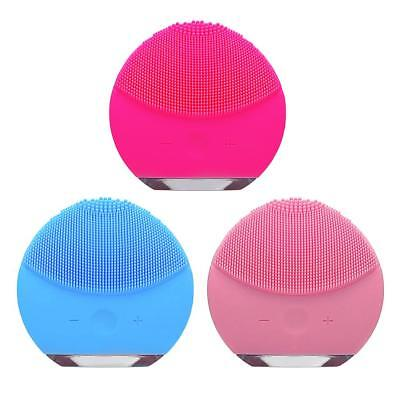 Ultrasonic Electric Silicone Facial Cleansing Brush Face Spa Skin Care Massage