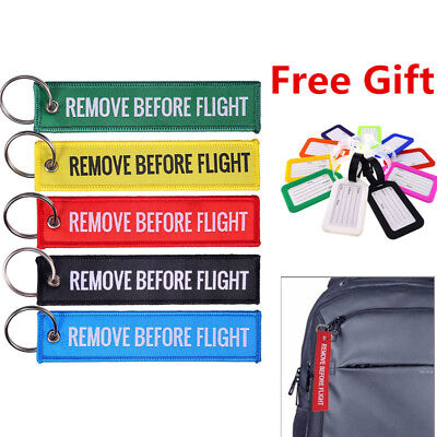 Fabric Key Ring Remove Before Flight Keychain Pilot+Bag  Luggage Tag Stub Label