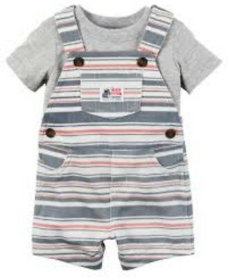 NEW Carter Infant Boy 2-Piece Shortalls Outfit Overall Shorts Tee 6 Months Gray