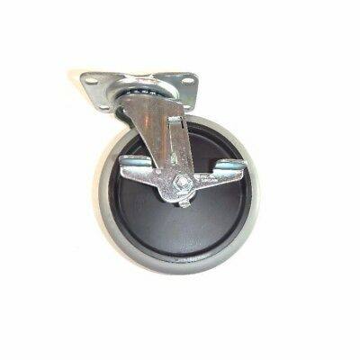"Swivel Plate Caster 5""x7/8"" Soft Rubber Wheel (2-1/2""x3-5/8"" Top) with Brake"