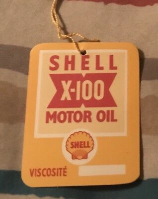 NOS French Shell Oil Change Reminder Tag - Gas Tin Sign Can Shelltox 1950s