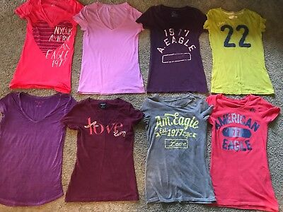 Hollister American Eagle Outfitters Lot of 8 Womens Tee Shirts Tops  Size S