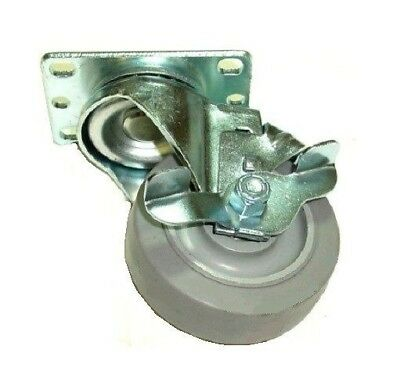"Swivel Plate Caster with 3-1/2"" Soft Rubber Gray Wheel with Side Locking Brake"