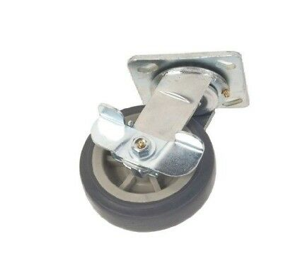 "Swivel Plate Caster with 5"" x 2"" Soft Gray Non Marking Wheel and Cam Brake"