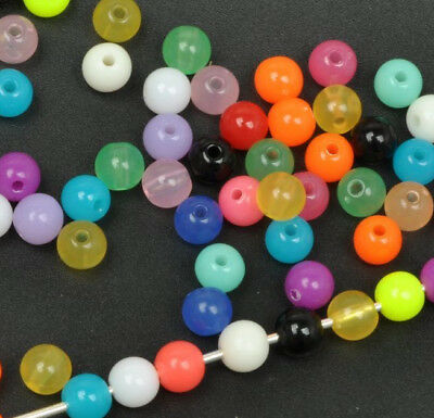 100pcs  round mix color candy color charm acrylic bead charms spacer beads 6mm