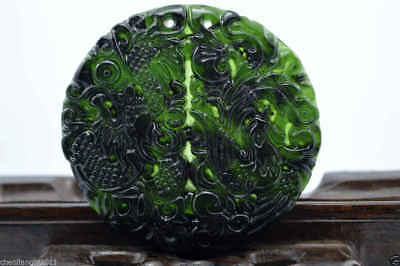 100% China's natural jade nephrite carving black jade pendant Dragon Phoenix