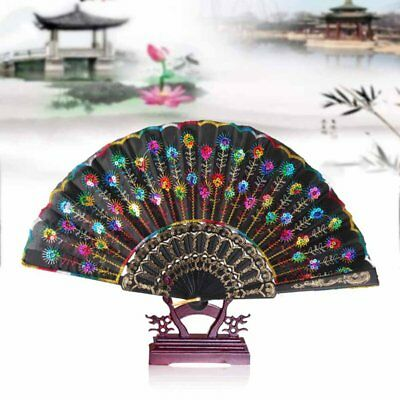1x Handmade Chinese Folding hand fan Bamboo Peacock Tail Floral Held Cloth Fans