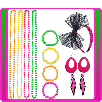 80s Party Neon Bracelet Necklace Headband Earring Hot Pink Costume Accessories