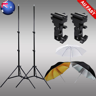 "Photo Studio Umbrella Flash Lighting Kit+Light Stand+33"" Umbrellas+2x Bracket B"
