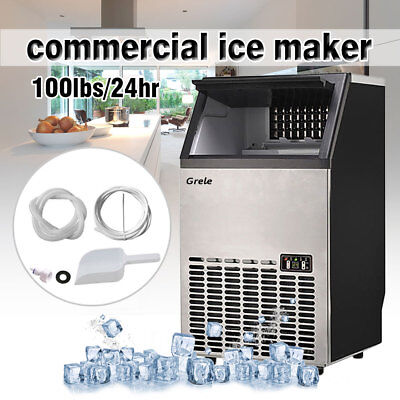 Commercial Ice Maker Stainless Steel Built-In Undercounter Freestand 100lb/24hr