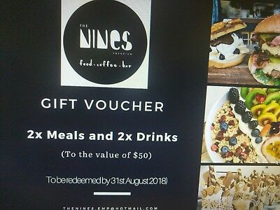 The Nines Cafe Maroochydore Gift voucher Value $50