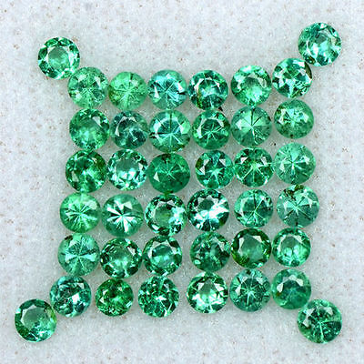 2.56 Cts Natural 2.5 mm Emerald 40 Pcs Gemstone Top Round Diamond Cut Lot Zambia