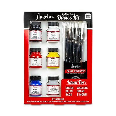 Angelus Leather Paint Basics Kit 11 Pc Set Ideal For Shoes Belts Bags Sofas A