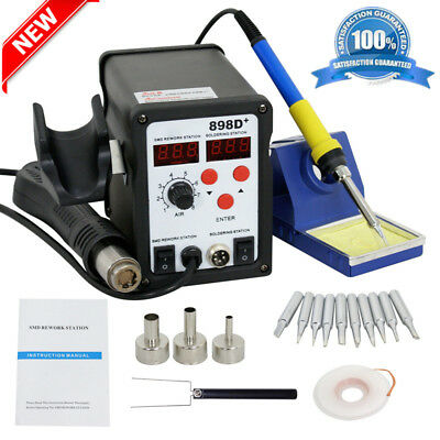 Latest 2in1 SMD Soldering Rework Station Hot Air & Iron 898D+ 11Tips ESD PLCC MX