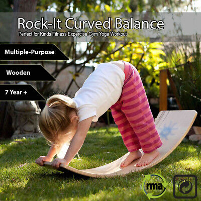Rock-It Curved Balance Fitness Board Kids Workout Gym Yoga Children Little Earth