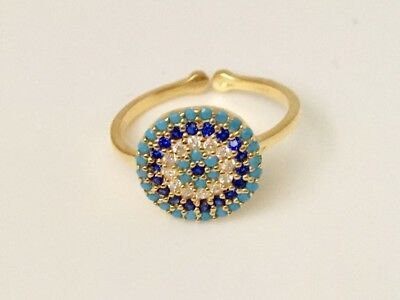 Gold Sterling Silver Evil Eye Cubic Zirconia Turquoise Mati Nazar Sapphire Ring