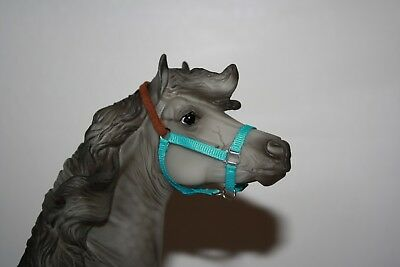 """blue traditional model horse halter with """"leather"""""""