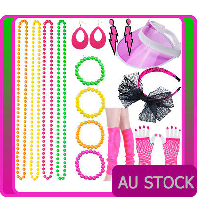 Ladies 80s Party Girl Hot Pink 1980s Neon Costume Accessories Set Accessory