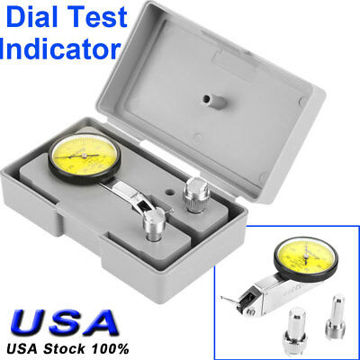 180° Precision 0.01mm Lever Dial Test Indicator Meter Tool Kit Gage W. 2 Clamp