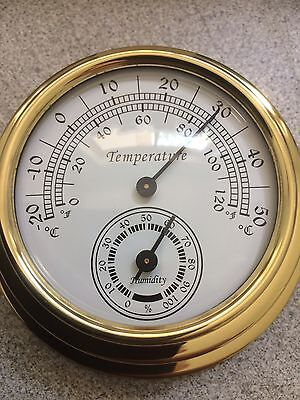 70m Brass Case Traditional Weather Station Analog Temperature and Hygrometer
