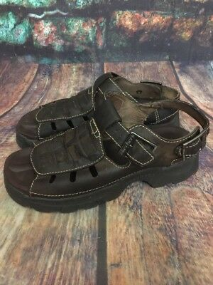 SKECHERS JAMUPS Women's Brown Open Toe Fisherman Sandals Size 8 Woven Leather