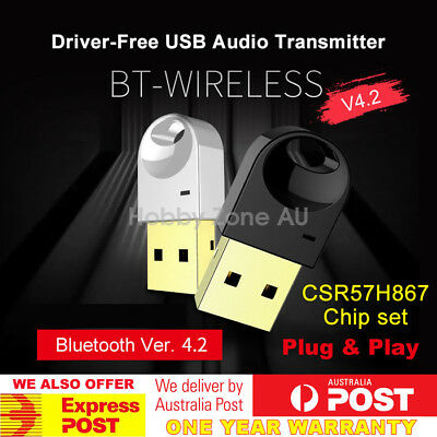 USB Bluetooth V4.2 Dongle Audio Transmitter Adapter A2DP Driver Free Plug & Play