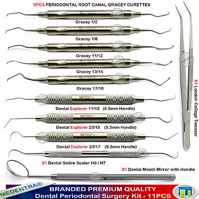 Dental Periodontal Surgery Instruments Kit Root Canal Curettes Explorers Sickle