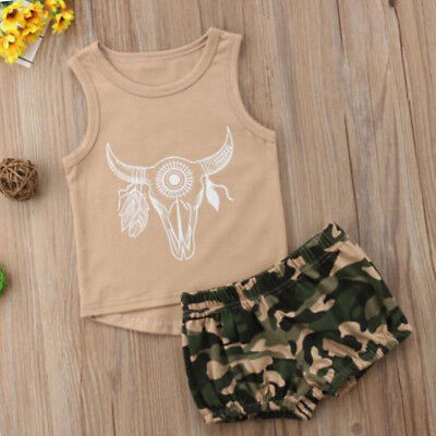 Kids Baby Boy Girl Vest Tops Shirt+Camo Shorts Outfits Bull Head Summer Clothes