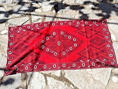 Lovely Hand Embroidered Bulgarian  vintage rug carpet tapestry kilim 127 cm long