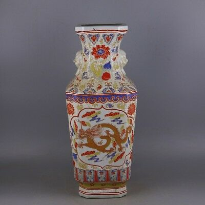 Nice Chinese Antique Famille Rose Porcelain Dragon Phoenix Vase