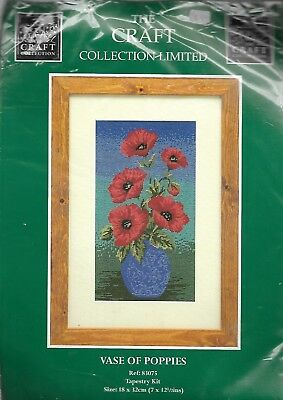 Vintage 2001 The Craft Collection Vase of Poppies Tapestry Kit