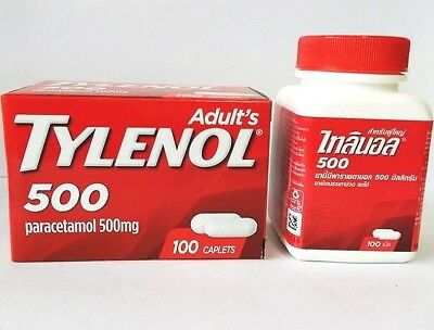 100 Capsule Tylenol Ault's Paracetamol Caplets Pain Relief 500 Mg Free Shipping