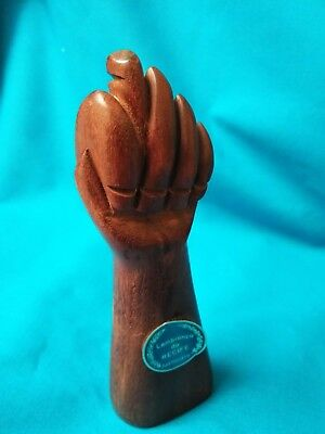 Vtg Carved Wood Fist Figa Lucky Hand Sculpture Art Power Fist Luck African