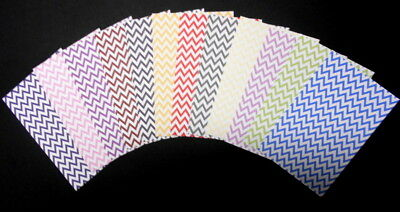"CHEVRON PATTERNED PAPERS x 12  ~ Scrapbooking/Cardmaking ~ 15cm x 10cm (6"" X 4"")"