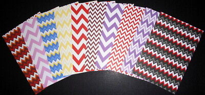 "CHEVRON PATTERNED PAPERS x 10  ~ Scrapbooking/Cardmaking ~ 15cm x 10cm (6"" X 4"")"