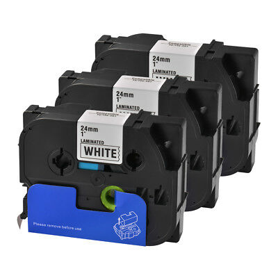 3x 24mm Black on White Label Tape Compatible for Brother P-Touch PT-D200 HS1166