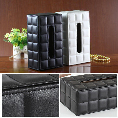 Fashion PU Leather Tissue Box Case Cover Holder Car Napkin Storage Box KTV Hotel