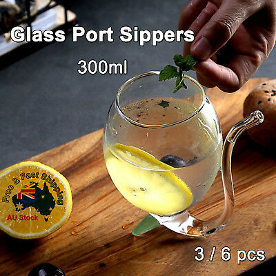 3/6pcs Glass Port Sippers Hand Blown Bar Drinking Wine Whiskey Glasses 300ml J