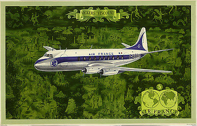 ON LINEN- ORIGINAL Vintage Airline Travel Poster AIR FRANCE Vickers Viscount MAP