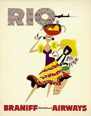 ORIGINAL Vintage Airlines Travel Poster BRANIFF AIRWAYS Rio BRAZIL Tambour Music