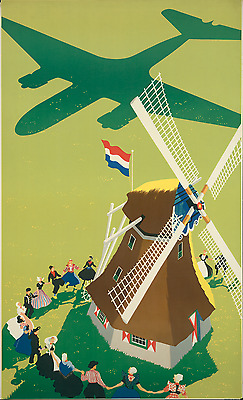 ORIGINAL Vintage Travel Poster ROYAL DUTCH AIRLINES KLM Windmill HOLLAND Dancers