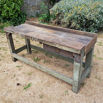 Vintage Reclaimed Handmade Wooden Workbench / Potting Table with Drawer