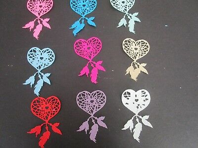 """DIE CUTS  7 DREAM CATCHER FEATHERs COLOURFUL  CARDSTOCK 4"""" x 2"""""""